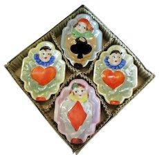 Vintage Bridge Ashtrays - Set of Clowns with Lustreware Glaze – Original Box