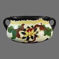Vintage Czechoslovakian Art Pottery - Colorful Console Vase Decorator Accent Piece