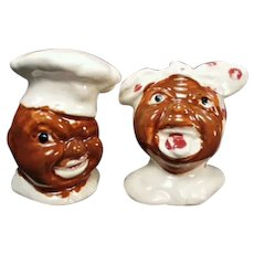 Vintage Black Memorabilia Salt and Pepper Set - Funny Mammy and Chef