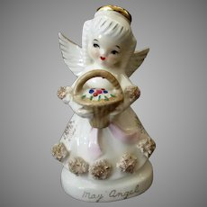 Vintage Birthday Angel Porcelain Figure Month of May with Flower Basket