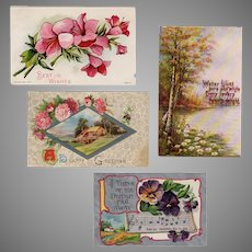 Four Vintage Postcards with Scerene Views and Pretty Flowers