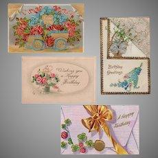 Four Vintage Birthday Postcards - Flowers and Shamrocks