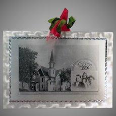 Vintage 1904 Aluminum Christmas Postcard from the Methodist Episcopal Church Deacon