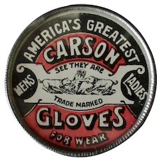 Vintage Advertising Mirror – America's Greatest Carson Gloves – Not Celluloid