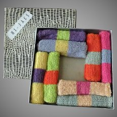 Vintage Hi-Jacs Highball Glass Socks - Knit Coaster Set with Original Box