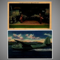 Two (2) Vintage Postcards with Military Airplanes