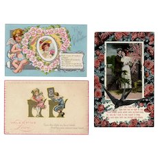 Three Vintage Valentine Postcards from the Early 1900's