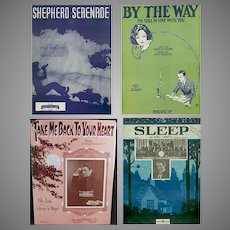 4 Pieces of Vintage Sheet Music – Four Different Songs – Some Nice Graphics