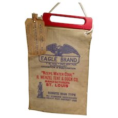 Vintage Eagle Brand Radiator Water Bag with Origianl Wood Handle & Label