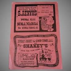 Vintage Shakey's Pizza Parlor Menu - Giant Special was Only $3.65