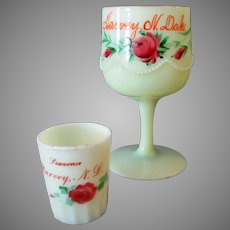 Vintage Custard Glass Toothpick and Goblet, both Harvey N.Dakota Souvenirs