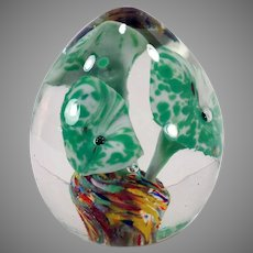 Vintage Glass Egg Paperweight with Encased Green Flowers