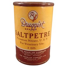 Vintage Saltpetre Medicine Container for Veterinary Use