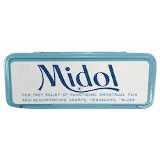 Vintage Midol Medicine Tin for Menstrual Disorders - Fun Tin for the Bathroom