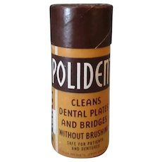 Vintage Polident Denture Tooth Powder Sample Cardboard Container
