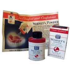 Vintage Wernet's Denture Powder Sample Tin with Original Box
