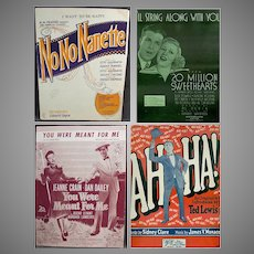 Four Assorted Pieces of Vintage Sheet Music Some Musicals – Four Different Songs