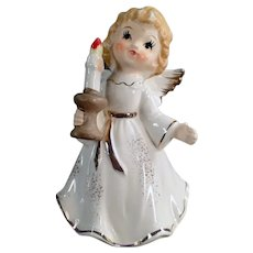 Vintage Porcelain Christmas Angel Holding a Holiday Candlestick