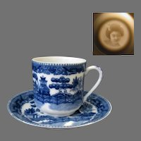Vintage Flow Blue Demitasse Cup and Saucer with Geisha Lithophane in Bottom