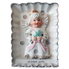 Vintage Ries December Birthday Angel Wall Plaque – Angel with Christmas Tree