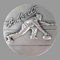 Vintage St. Moritz Medallion - Engiadina Curling Club with Nice Graphics