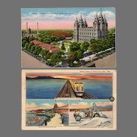 Two Vintage Postcards with Views of Salt Lake City including the Mormon Temple