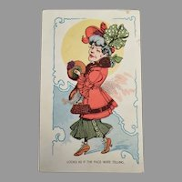 Humorous Vintage Postcard with Unattractive and Funny Woman - 1910