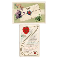Two Vintage Valentine Postcards from the Early 1900's
