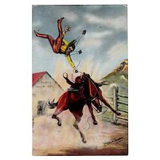 Vintage 1940 Postcard with L.H. Dude Larsen Image - Cowboy Thrown from Horse