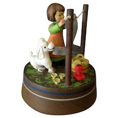Vintage Lara's Theme Anri Music Box with Girl Hanging Laundry
