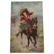 Vintage Western Theme Postcard with Cowgirl on Horse – The Belle of the Plain