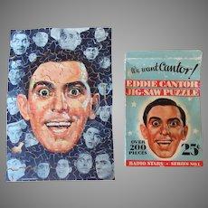 Vintage Jig-Saw Picture Puzzle – Radio Stars Series #1 Eddie Cantor with Original Box