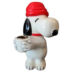 "Vintage 7 ½"" Snoopy Candle Holder – Hallmark 1970's United Features Syndicate"