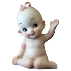 Vintage Porcelain Kewpie Type Girl, Pink Bow, Waving Hello