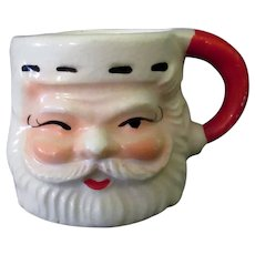 Vintage Miniature Ceramic Santa Claus Mug for Holiday Decorating