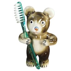 Vintage Toothbrush Holder - Victoria Ceramics Bear Tooth Brush Holder