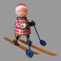 Vintage Celluloid & Tin Occupied Japan Wind Up Toy – Cross Country Skier