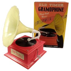 Vintage Old Timer Toy Gramophone Music Box with the Original Box