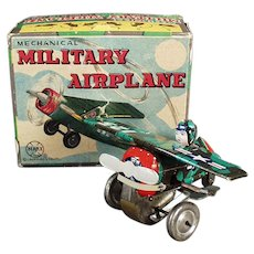 Vintage Marx Wind-up Toy - Mechanical Military Airplane with Colorful Original Box
