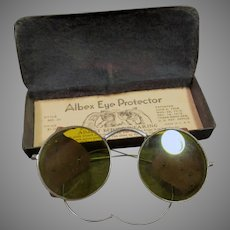 Vintage Yellow Tinted Willson Albex Eye Protector Safety Goggle Eye Glasses with Original Tin