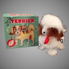 Vintage Wind-up Alps Toy Dog - Rabbit Fur Covered Terrier with Original Box
