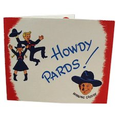 Vintage Hopalong Cassidy Howdy Pard Party Invitation - William Boyd Cowboy Memorabilia