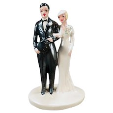Large Vintage Bride & Groom –  1920's Chalkware Wedding Cake Topper