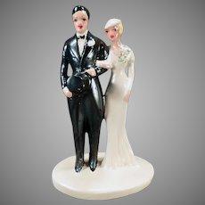 Large Vintage Bride & Groom –  1920's Chalkware Wedding Cake Topper