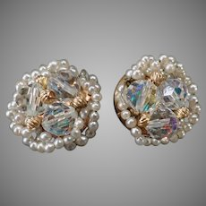Vintage Clip-On Earrings – Crystal Aurora Borealis Beads and Faux Seed Pearls