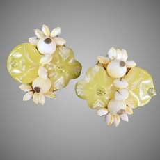 Vintage Costume Jewelry Clip-On Earrings with Lemon Yellow Flowers and White Beads