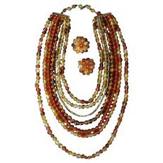 Vintage Costume Jewelry Necklace & Earring Set - Yellows and Oranges