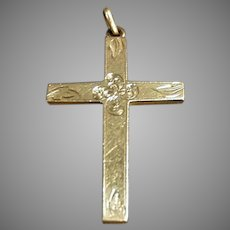 Vintage Rolled Gold Cross Pendant with Delicate Detailing - No Chain