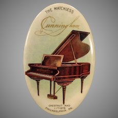 Vintage Celluloid Advertising Mirror with Grand Piano The Matchless Cunningham Piano Company