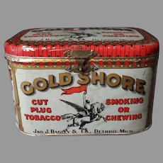 Vintage Gold Shore Cut Plug Tobacco Lunch Box Style Tin